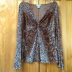 Cache | Cheetah Animal Print Long Sleeve Blouse